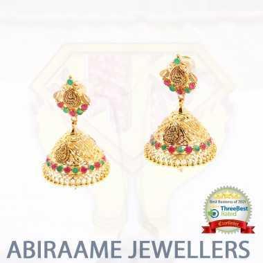 bridal jhumkas online shopping, bridal jhumkas gold, stone jimikki, jhumka for wedding, latest design jimikki kammal