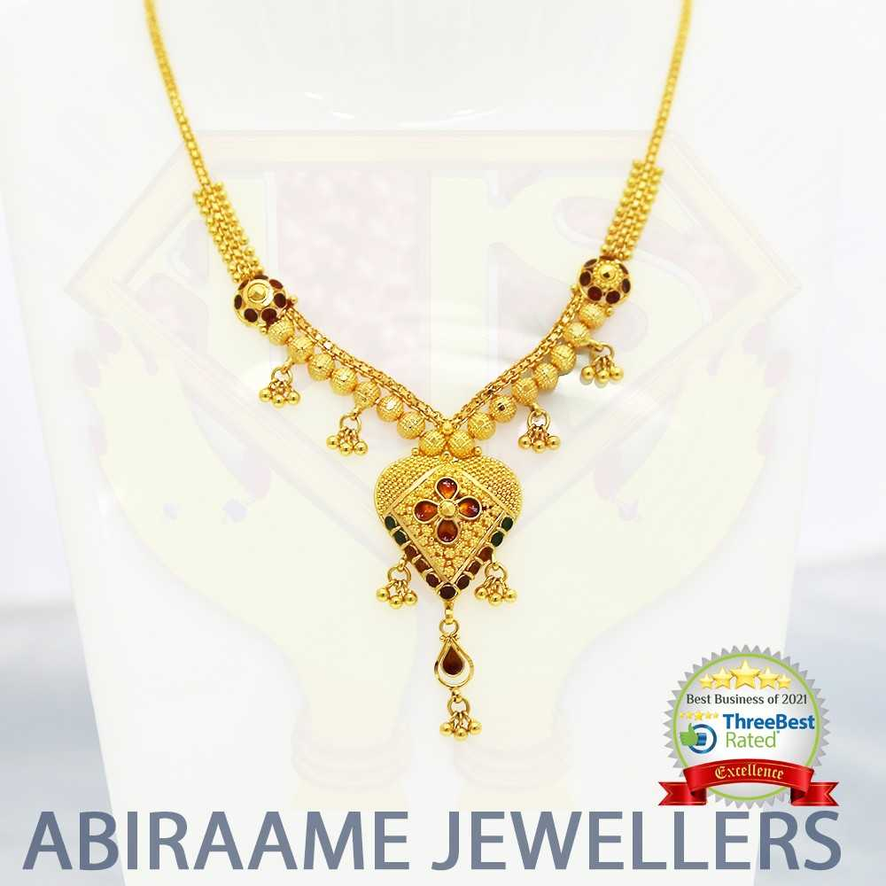 gold choker designs, gold necklaces, choker necklace, gold chain, gold necklace designs, gold chains designs, abiraame jewellers