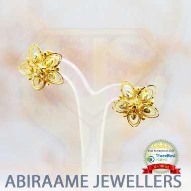latest earrings gold designs, earrings online, earrings for women, flower earrings, abiraame jewellers