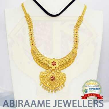 mango haram designs, mango mala designs, mango design necklace, mango haram designs new models, abiraame jewellers